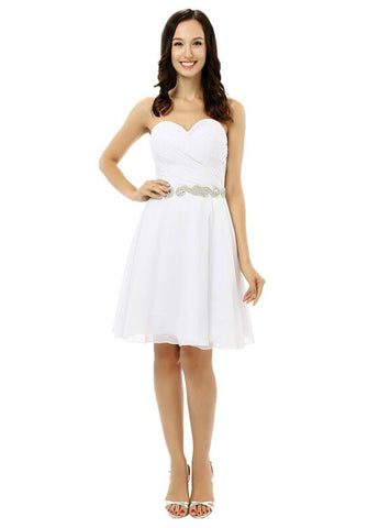 White Chiffon Sweetheart With Crystal Short Homecoming Dress