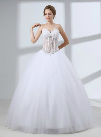 White Tulle Sweetheart Neck Corset Wedding Dress With Pearls