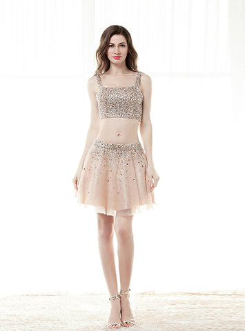 Champagne Two Piece Spaghetti Straps Crystal Homecoming Dress