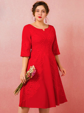 Plus Size Red Half Sleeve Lace Tea Length Short Prom Dress