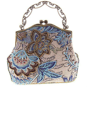 Fashion Women Floral Embroidery Bead Clutch Bag