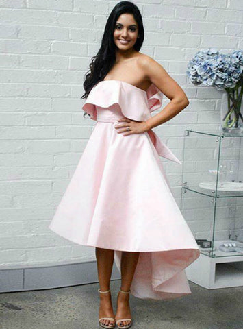 A-Line Strapless High Low Pink Satin Prom Dress With Bow Ruffles