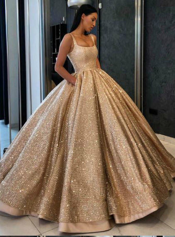 Ball Gown Sequins Straps Quinceanera Dress Sweet 16 Dresses With Pocket