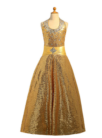 Princess Ball Gown Halter Sequins Gold 2017 Girls Pageant Dresses For Weddings
