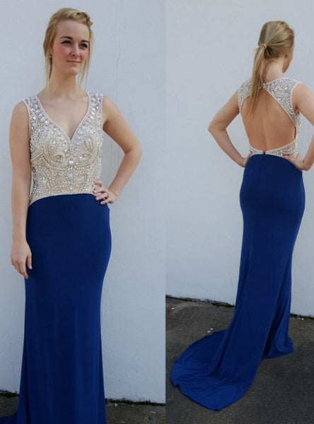V-Neck Sexy Rhinestone Court Train 2017 A-line Sleeveless Backless