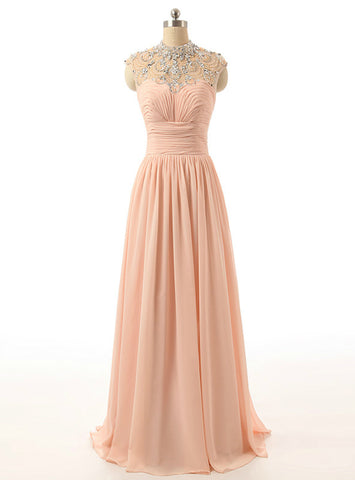 Advanced Long High Neck Tulle Beaded Party Dress Peach Crystals Chiffon Prom Dresses