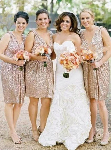 Fashion Gold Sequin Bridesmaid Dress Short Sequin Bridesmaid Dress