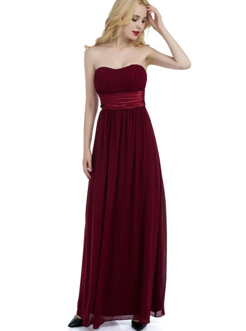A-Line Burgundy Sweetheart Chiffon High Waist Bridesmaid Dress