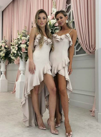 Light Pink Satin Hi Lo Spaghetti Straps Bridesmaid Dress with Ruffles