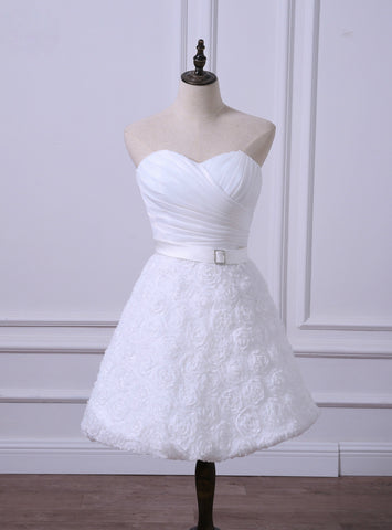 Brilliant Short Wedding Reception Dresses Cheap White/Ivory Bridal Gown