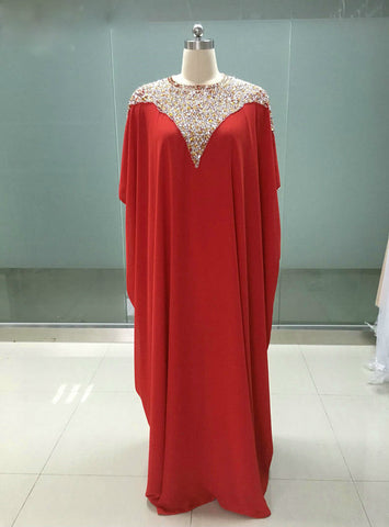 Formal Mother Of The Bride Dresses Red Chiffon Cap Sleeves Floor Length Beading