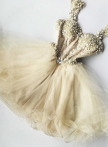 A-Line Champagne Tulle Straps Homecoming Dress With Beading