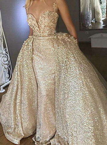 Ball Gown Spaghetti Straps Gold Sequin Appliques Prom Dresses
