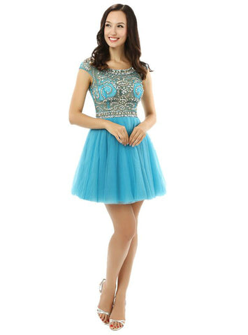 Blue Tulle Scoop With Beading Sequins Cap Sleeve Homecoming Dress