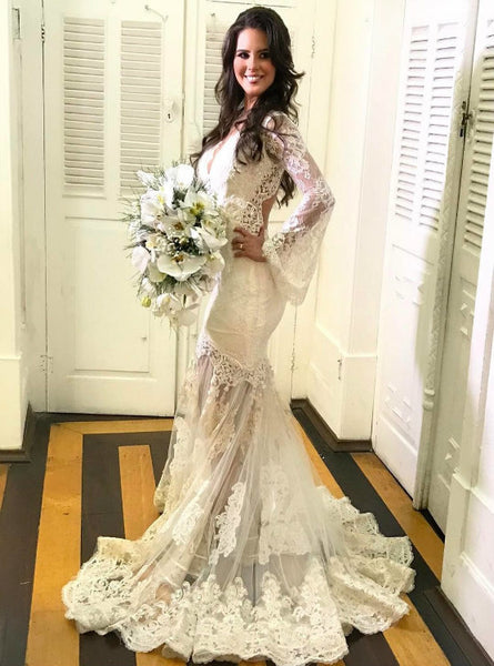Lovely Illusion Lace Mermaid Long Sleeves Wedding Dress with Back