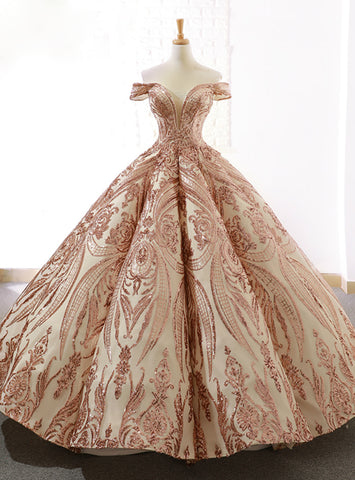 Gold Sequins Ball Gown Off The Shoulder Floor Length Wedding Dress