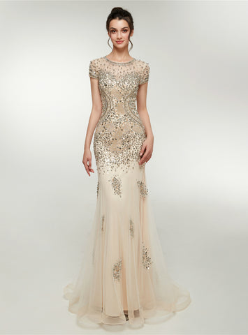 Champagne Mermaid Tulle Cap Sleeve Crystal Prom Dresss