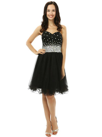 Black Sweetheart Tulle With Crystal Knee Length Homecoming Dress