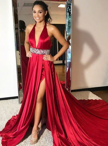 Halter Neck Long Red Chiffon Crystals Belt Prom Dresses