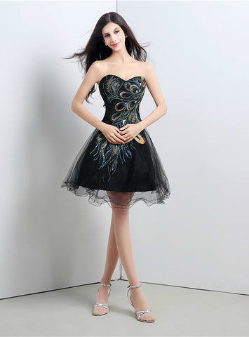 Black Sweetheart Tulle Embroidery Sequins Crystal Homecoming Dress