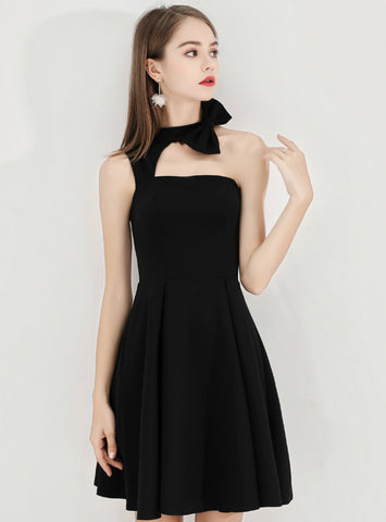 In Stock:Ship in 48 Hours Sexy Black Satin Halter Homecoming Dress With Bow