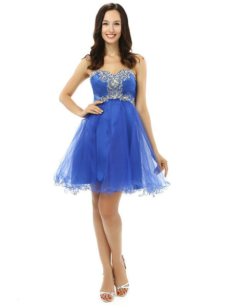 A-Line Blue Sweetheart Neck Tulle With Appliques Homecoming Dress