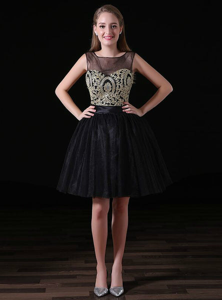 A-Line Black Tulle Gold Appliques Backless Short Black Homecoming Dress