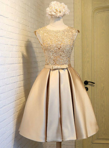 Short Gold Appliques Satin Homecoming Dresses