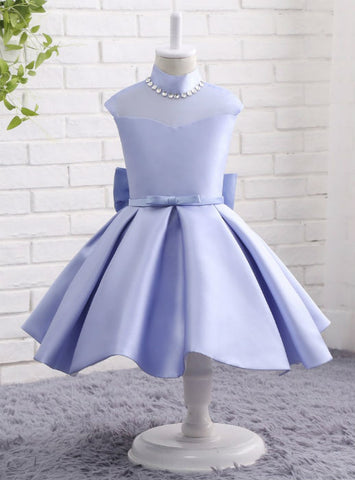 High Neck Princess Satin Flower Girls Dresses Cheap Girls Party Dress
