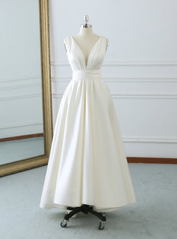 Fabulous Ivory White Satin Deep V-neck Backless Tea Length Wedding Dress