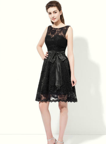 A-Line Black Lace Backless Sleeveless With Sash Knee Length Bridesmaid Dress