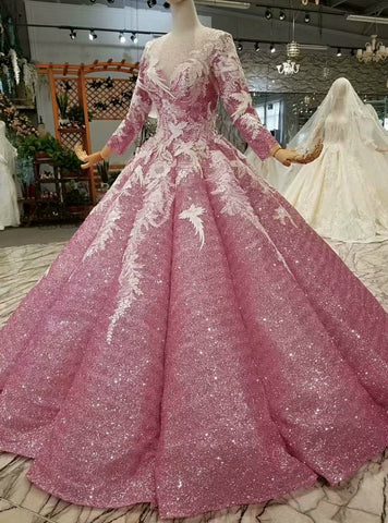 Ball Gown Pink Sequins Long Sleeve Appliques Floor Length Wedding Dress