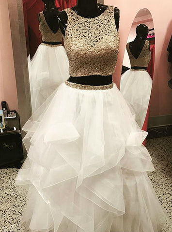 A-Line Gold White Two Piece Tulle Backless Long Prom Dress