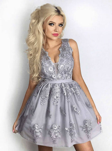 A-Line V-Neck Grey Tulle Appliques Homecoming Dress