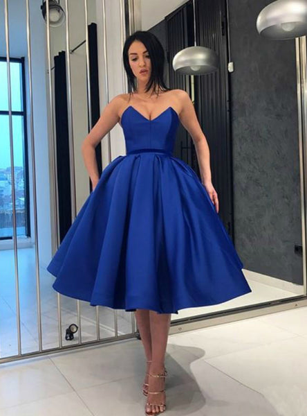 Blue Ball Gown Satin Sweetheart Neck Homecoming Dress