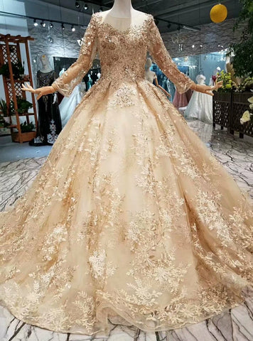 Ball Gown Long Sleeve Sequins Appliques Wedding Dress With Beading
