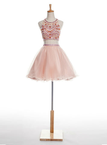 A-Line Pink Two Piece Halter Backless Tulle With Crystal Homecoming Dress