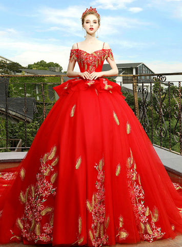 Unique Red Ball Gown Spaghetti Straps Embroidery Appliques Wedding Dress With Train