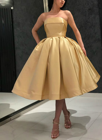 Gold Ball Gown Satin Tea Length Homecoming Dress