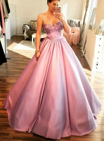 Pink Ball Gown Sweetheart Satin Party Dress With Beading Prom Dress
