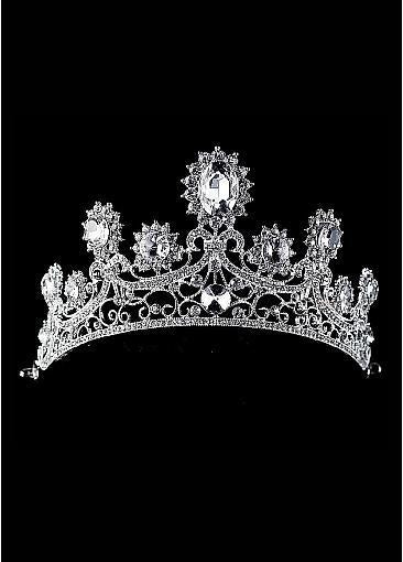Rhinestones & Alloy & Rhinestones & Man-made Crystal Silver-plated Tiara