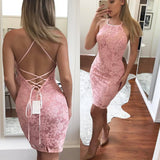 Hot Sale Lace Halter-Neckline Dress with Criss Cross Straps on the Back