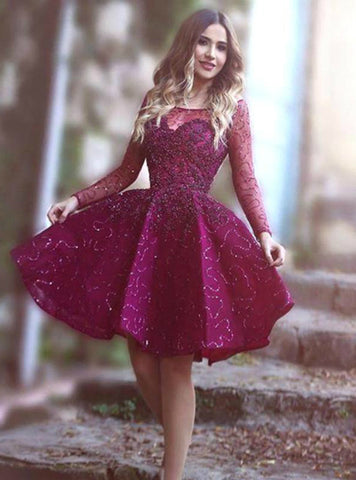 A-Line Purple Sequins Lone Sleeve Knee Length Homecoming Dress