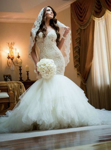 Gorgeous Wedding Dresses Sheath Mermaid V-neck Wedding Dresses