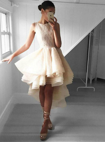 High Low Scoop Neck Lace Ruffle Short Homecoming Dress