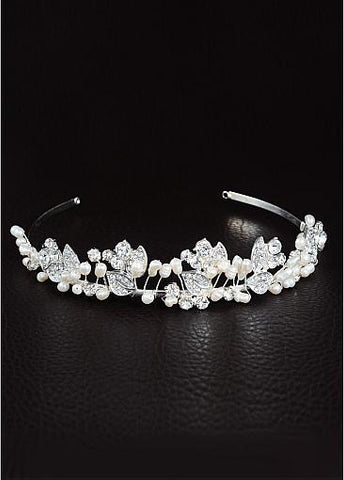 Cheap Dazzling Alloy Wedding Tiaras With Rhinestones & Pearls