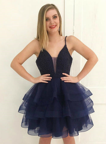 Navy Blue Spaghetti Straps Tulle With Beading Homecoming Dress