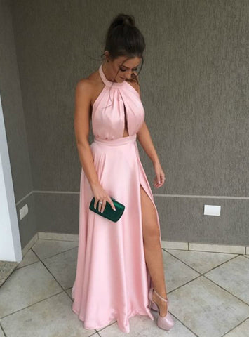Sexy Pink Halter Cut Out Halter Pleats Long Prom Dress With Side Split
