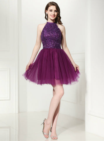 A-Line Purple Tulle Halter Backless Homecoming Dress With Beading