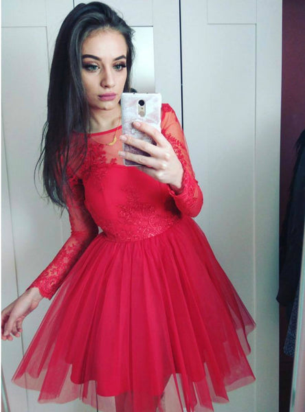 Casual Prom Dress with Long Lace Sleeves Red Tulle Short